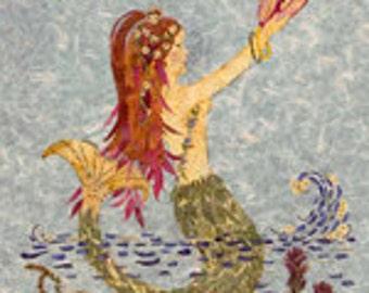 Mermaid Art - Saturn Rising - Magical Fantasy Flower Art - OOAK 8 x 10 Giclee Print - Conch Shell