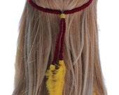 Garnet and Gold feather headband braided yarn adjustable handmade women hair accessoriesTequila Sunrise
