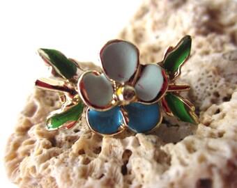 Vintage Blue Flower Pin