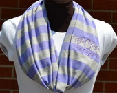 Monogrammed Infinity Scarf Lavendar and Gray Stripe Knit Jersey