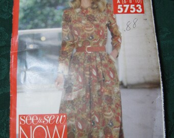 Butterick See & Sew Now 5753 Misses Dress size A sizes 6, 8, 10 bust 30 1/2, 31 1/2, 32 1/2 inches sewing pattern 1991 uncut