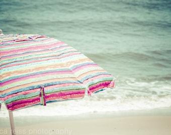 Cottage Beach Art Print Decor, Vintage Rustic Modern Shabby Chic Beach Home Decor, Beach Umbrella Art Print, Jersey Shore Art