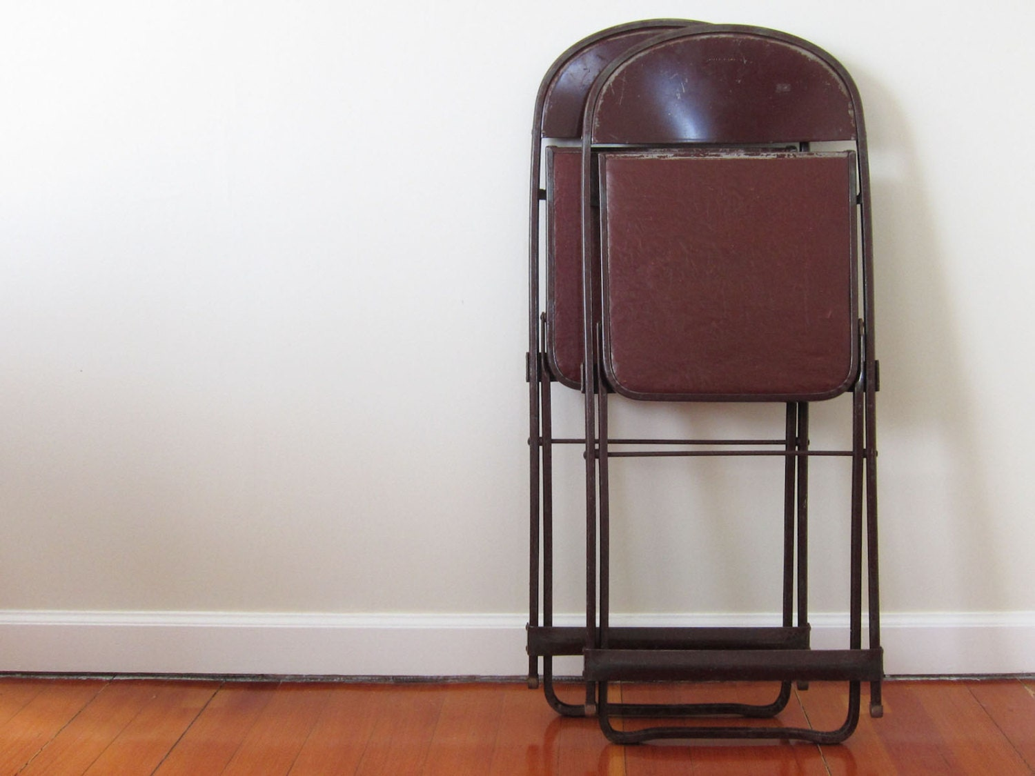 Vintage Seating Two Metal Folding Theater Chairs By Pastoria