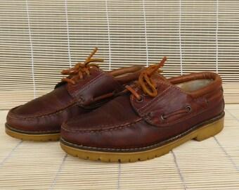 Vintage Lady's Brown Leather Lace Up Deck Shoes Size EUR 39 / US Woman 8 1/2