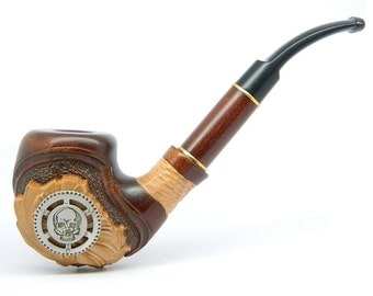 "Tobacco smoking pipe   ""Steampunk Air Pirate Skull""  carved of pear wood, Great Collectible + Pouch"