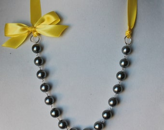 Charcoal Gray Pearl and Canary Yellow Ribbon Bow Necklace