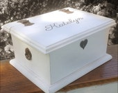 Heart Lock Baby  Keepsake Box with Hand Painted Name - Handmade by Arcadian Cottage