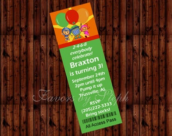 PRINTED qty 30 Birthday Ticket Style Invitations - Umizoomi