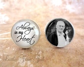 Photo Memorial Cuff Links - Always in my Heart Picture Wedding Cufflinks - Tribute In Memory - Sterling Silver or Stainless Steel Cuff Links