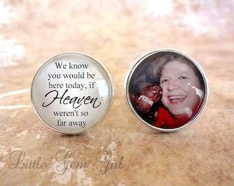 In Memory Photo Cuff Links - Personalized Picture Cufflinks - Heaven Poem Wedding - Tribute Memorial Keepsake - Sterling Silver or Stainless