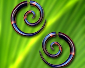 Fake Gauges, Large Tribal Spirals, Wood Earrings, Eco-Friendly, Cheaters, Split, Expanders, Fake Plugs, Handmade, Organic - W5