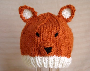 Free Knitting Pattern Baby Animal Hat : Baby Fox Hat for Baby and Toddlers - Hand Knit & Crochet ...
