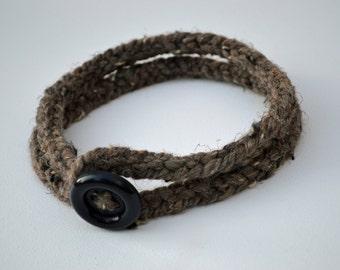 Headband hair band knit - button closure - Barley - Accessory trend - stocking stuffer