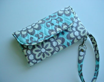 Wristlet Wallet Carry all  phone wallet quilted in Amy Butler Wallflower Slate