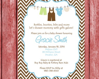 Printable Boy Baby Shower Invitation.  Printable Baby Boy Chevron Shower Invitation.  Boys Clothesline Invitation