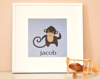 Modern Children's Paper Art - Monkey - 12 x 12 - Blue and Brown or Custom Color