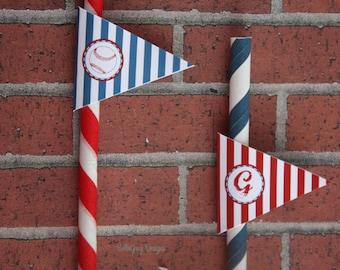 Baseball Birthday Party Custom Straw Flag Tags