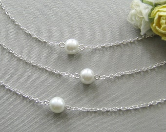 SET of 5 pcs pearl bridesmaid necklace, single pearl necklaces, bridesmaid gift wedding jewelry white ivory pearl custom color W001S