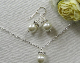 Rhinestone pearl necklace  earring set, bridesmaid necklace, bridesmaids gift custom pearl jewelry white ivory pearl W003S