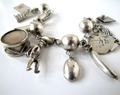 Vintage Taxco Mexican Sterling Silver Charm Bracelet, 76.4 Grams