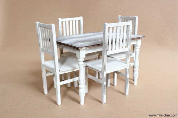 1/6 scale Dining / Kitchen Table and 4 Chairs / Shabby Cottage chic Farmhouse furniture for dolls (Blythe, Pullip, Barbie, BJD, Momoko)