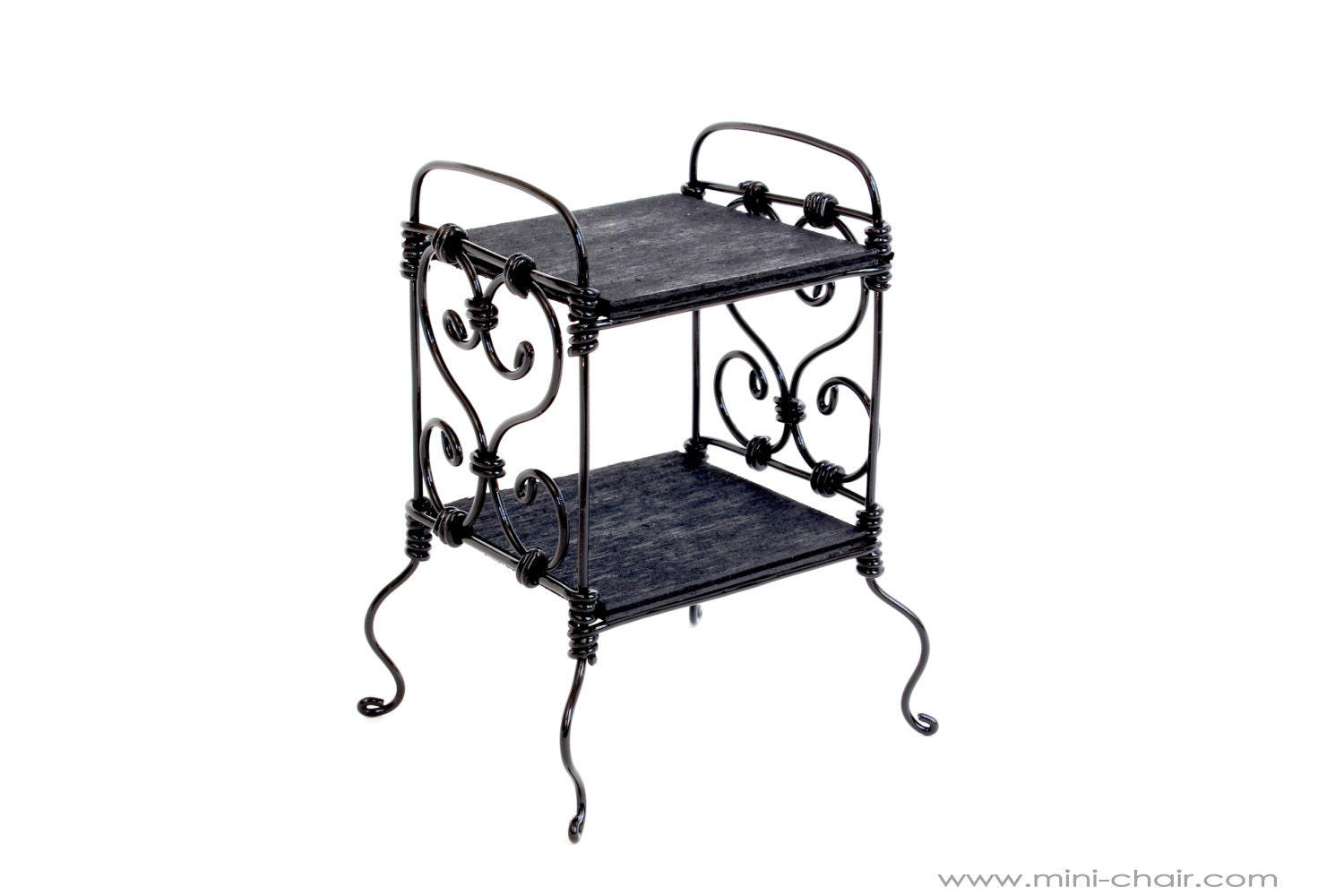 1/6 Scale Bedside Table/ Nightstand Wrought Iron Black