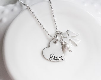 Memorial Necklace Grandma Gram Mom Angel Personalized Custom Pearl Sterling Silver Sympathy In Memory Of