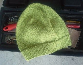 Men's Alpaca Wool Beanie Lime Green Light Thin Hand Knit Winter Hiking Skiing Snowboarding Gent's Hat (One Size - Made to Order)