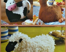 Tea Cosy Knitting K9003 Tea Cosy Cow Hen Sheep Knitting Pattern DK (Light Worsted) King Cole