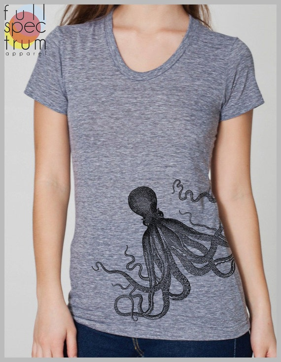 Womens Octopus Tshirt Screen print tshirts Ladies clothing trendy women American Apparel tops octopus shirt underwater animal nautical top