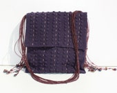 RESERVED purple crocheted bag, embroidered and with beaded chain