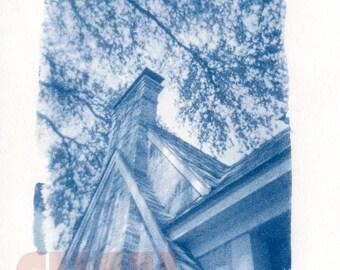 """Patrick's House - 5""""x7"""" Cyanotype from Holga Photograph"""