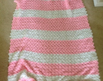 Summer PINK stripped Handcrafted Crocheted vintage baby blanket  afghan warm and cuddly vintage