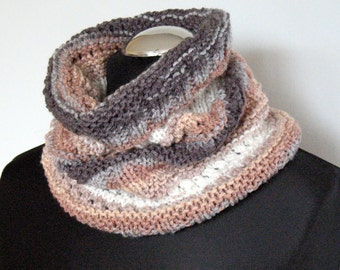 Infinity Scarf Brown Beige Gray White Circle Scarf Cowl Wrap