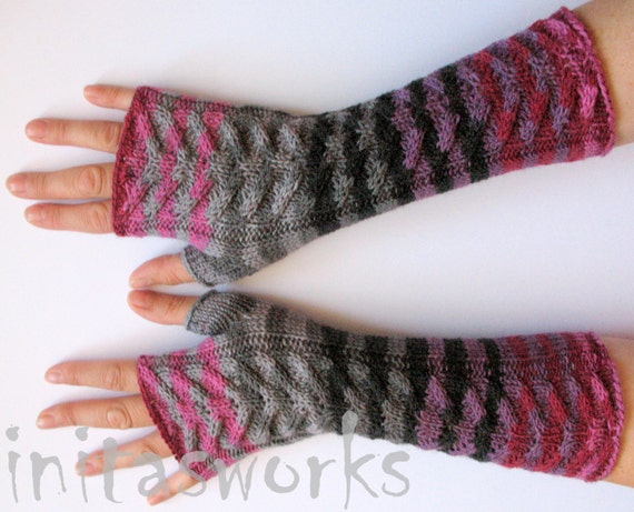 Fingerless Gloves Black Gray Pink Purple wrist warmers