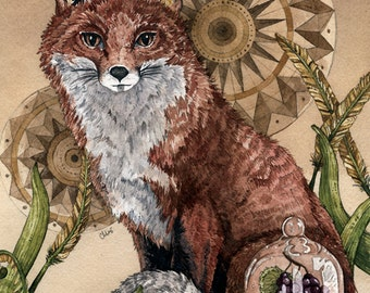 The Fox and the Grapes | Watercolor | Archival Print