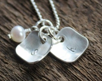 Personalized Initial Necklace - Hand Stamped Silver Teeny Square Necklace