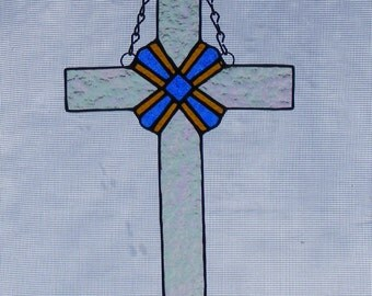 Stained Glass Cross - 10 in. tall - Cross with Center Design