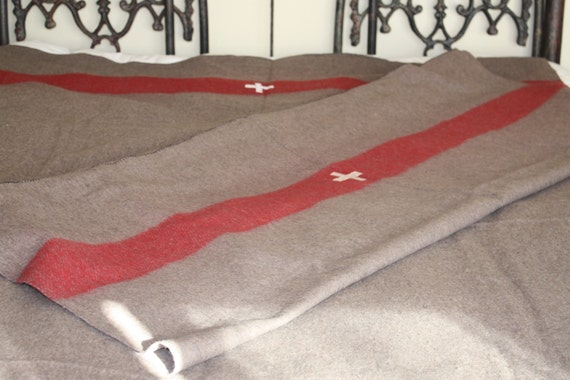 Swiss Army Blanket Pair // Two Authentic Style Swiss Army Blankets // Swiss Army Wool Blanket