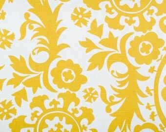"SUZANI Corn Yellow and White 25"" x 63, 72, 84, 90, 96, 108, 120 Extra Long Curtains, Drapery Panels"