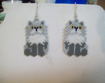 Beaded Grey and White Persian Cat Earrings Southwestern, Boho, Brick Stitch, Loom, Dangle, Peyote, Great Gift Small and Cute
