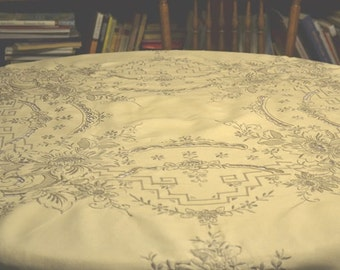 Rose Embroidered Round Tablecloth