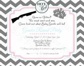 Guns or Glitter Gender Reveal Party Invitation Printable Baby Shower invitations Luv Bug Design