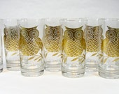 Highball Bar Glasses With Metallic Gold Owl Print Set Of 8 Vintage 1960's