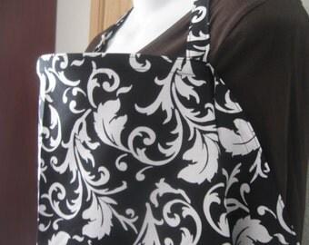 Breastfeeding nursing cover up apron like  hooter hider black white  scrolls
