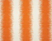 "Two  96"" x 50""  Custom Curtain Panels  -  Jiri Ikat  Vertical Stripes - Orange/Grey/Jade Green/Dusty Blue/Yellow"