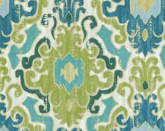 Two 26 x 26 Custom Decorative Pillow Covers - Large Damask - Blue/Green