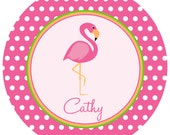 Personalized Flamingo Melamine Plate