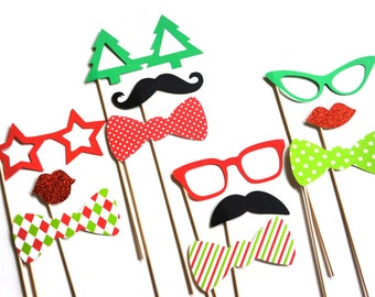 Christmas Photo Props - Set of 12 Holiday Photo Booth Props - Santa's Helpers - Elves