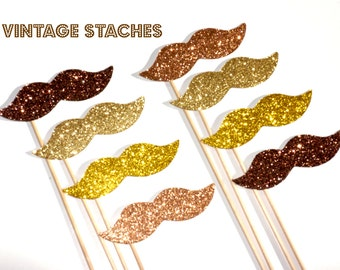 Vintage Glitter Mustache Collection - Set of 8 - Gold, Yellow Gold, Brown, and Peach Glitter Staches